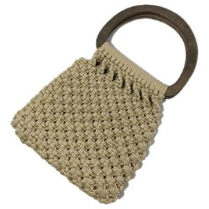 Vintage Woven Macrame Bag with Wooden Handle